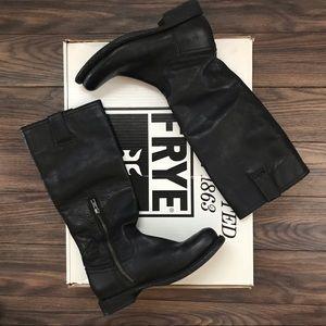 Frye slim-calf half-zip riding boot 8.5